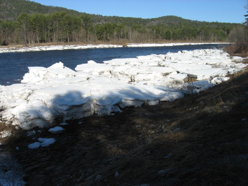 Ice pack on riverside ice meadows in April 2015 along the Hudson River South of The Glen. Gregory J. Edinger