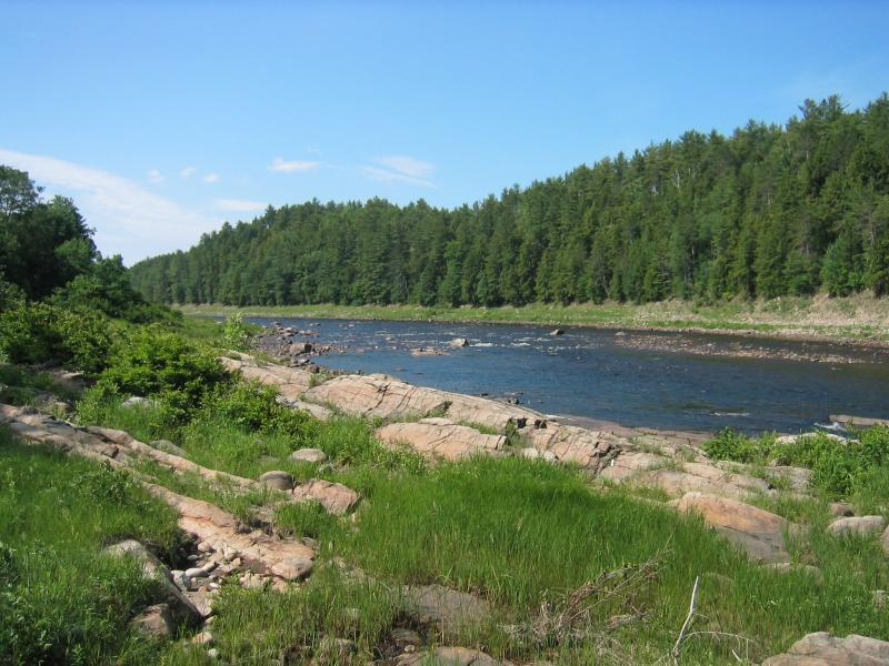 Riverside ice meadow and shoreline outcrop at South of the Glen. Gregory J. Edinger
